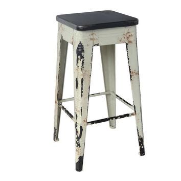Rustic White Metal Bar Stool