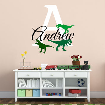 T-rex Design Personalized Custom Name And Initial Vinyl Wall Decal Sticker