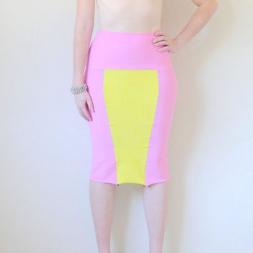 Color Block Hand Dyed High Waist Pencil Skirt in Stretch Knit Cotton - Two Tone Fitted Pencil Skirt  - Sizes XS, S, M, L, XL