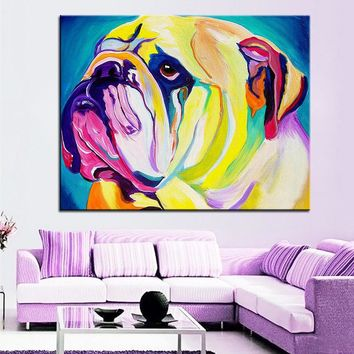 Large size Print Oil Painting bulldog bully Wall painting Home Decorative Wall Art Picture For Living Room paintng No Frame