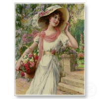 Stunning Vintage Lady in Garden Postcard E Vernon from Zazzle.com