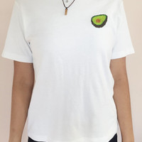 hand embroidered avocado logo white t shirt size M/L women's