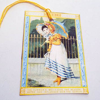 Parasol Girl Tags - Set Of 3 - Summer Rain - Vintage Girl Tag - Yellow  And Blue -  Rainy Day Tag - Gift Tags - Thank Yous - Regency Style
