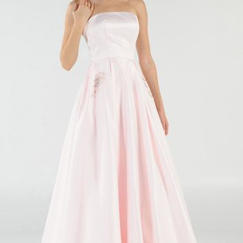 Blush Strapless A-line Prom Gown with Embellished Pockets