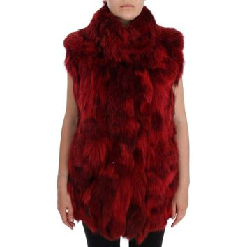 Dolce & Gabbana Red Coyote Fur Sleeveless Coat Jacket