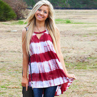 Round Neck Cut Out Sleeveless Striped Loose Fit Asymmetrical Tank in Red or Blue