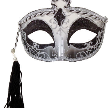 costume mask: tasseled mardi gras mask - silver Case of 2