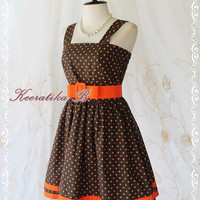 Jazzie ll - Classy Vintage Design Tea Dress Brown With Orange Polka Dot All Over Double Orange Stripes Party Tea Time Dress Medium Size