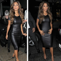 Vegan Leather Short Sleeve Sexy Party Bodycon Dress