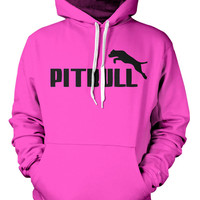 Pitbull Hoodie Fleece Mens Unisex Pull Over Hood Long Sleeve Sweatshirt