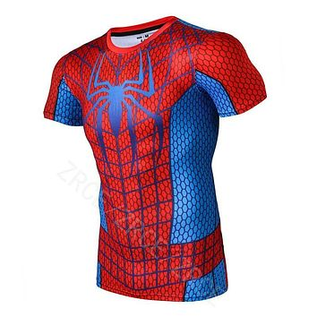 ZRCE2016 New Style Men Steel Beast Compression Shirt Spiderman Fitness Tights Short sleeves Tops Quick Dry t shirt
