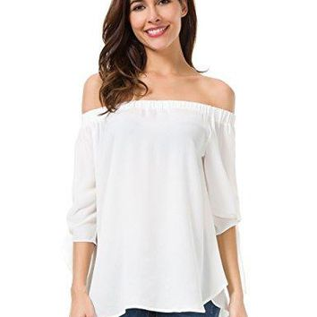 Chaoyaxuan Women Sleeves Off Shoulder Tops Casual Loose Shirt Pullover Blouse 0281