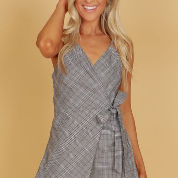 Tie Plaid Romper Black