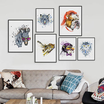 Watercolor Fashion Animals Head Zebra Lion A4 A3 Art Prints Poster Living Room Wall Pictures Canvas Painting Home Decor No Frame