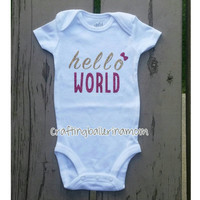 Hello World Baby Girl Onesuit - Glitter - Gold Hot Pink - Baby Shower Gift - Funny Baby Onesuit - Newborn Baby Onesuit - Take Home Outfit - Bow