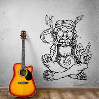 Wall Stickers Vinyl Decal Hippie In Glasses Smoking Weed Marijuana (z2173)