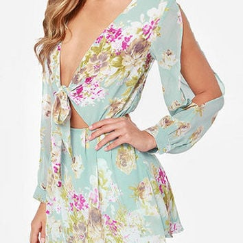 Green Plungy Tie Up Front Cold Shoulder With Lining Dress