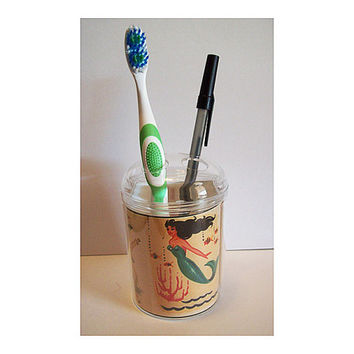 mermaid toothbrush holder retro vintage 1950's rockabilly pin up girl pen holder kitsch