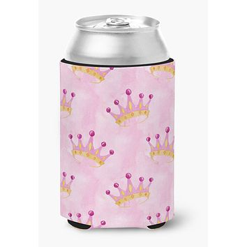 Watercolor Princess Crown on Pink Can or Bottle Hugger BB7546CC