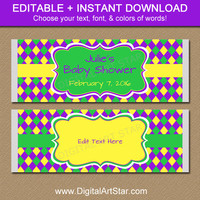 EDITABLE Mardi Gras Chocolate Bar Wrappers - Printable Candy Bar Wrappers - Mardi Gras Baby Shower Party Favors - DIY Party Decorations