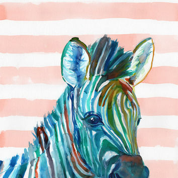 BABY ZEBRA room decor - Animal art print - Jungle Safari nursery