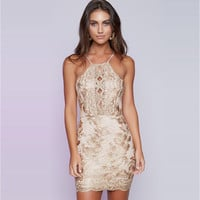 Sexy Lace Embroidery Floral Gold Halter Bodycon Dress