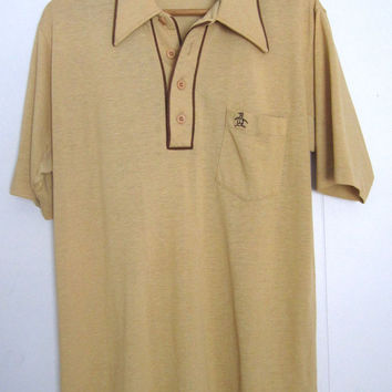 Vintage 80s Munsingwear Grand Slam Polo Shirt Tan Brown Retro Hipster Small Medium