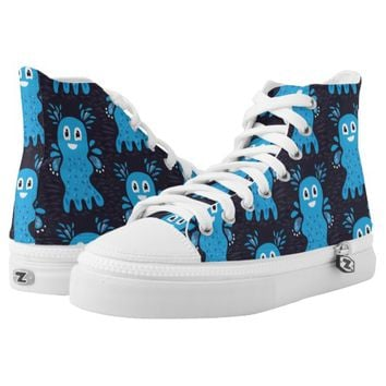 Undiscovered Blue Happy Sea Creatures Pattern Printed Shoes