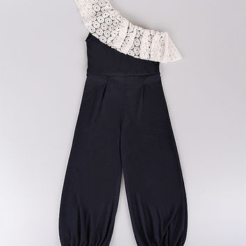 Mia Belle Baby Navy & Crème Lace Ruffle Asymmetrical Jumpsuit - Toddler & Girls | zulily