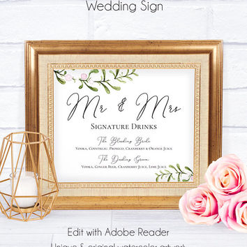 Rustic Mr and Mrs Wedding Sign, Customizable Poster, Wedding Decor, DIY Wedding Sign, Wedding Poster, Greenery Sign, Mr and Mrs Wedding
