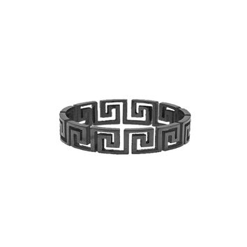 Mister  Greek Cut Out Ring - Black