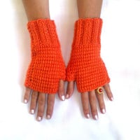 Fingerless wool gloves orange  gloves cozy gloves free shipping arm warmers mittens