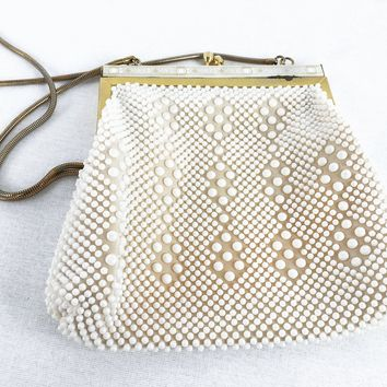 Vintage Beaded Bag- Vintage White Purse-  Circa 1950- Bridal Purse- Gift For Her- Gift For Mom- Unique Gift- Christmas Gift- Retro Purse-