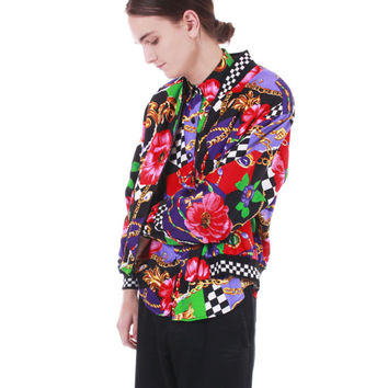 80s Vintage Windbreaker Jacket Colorful Color Block Checkered Floral Hipster 90s Hip Hop Swag Unisex Clothing Men Small Women Medium