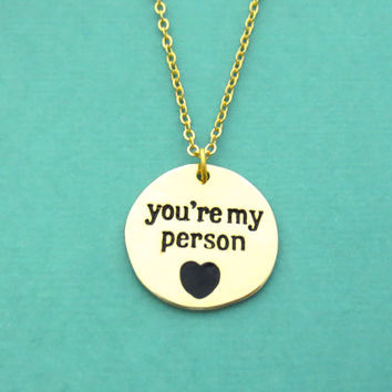 You're my person, Gold, Necklace, Coin, Grey's anatomy, Heart, Necklace, Best friend, BFF, Birthday, Sister, Gift, Accessory, Jewelry