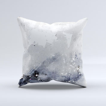 Grunge White & Gray Texture Ink-Fuzed Decorative Throw Pillow
