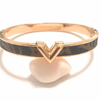 KC Luxurys Louis Vuitton Inspired V Woman Luxury Cuff Gold Bracelets Gold V Bangle Bracelet