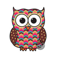 Tribal Owl Car Decal Sticker: Colorful Geometric Pattern Cute Owl Bumper Sticker Laptop Decal Pink Teal Coral Brown