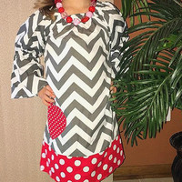 Valentines Chevron Pillowcase Dress