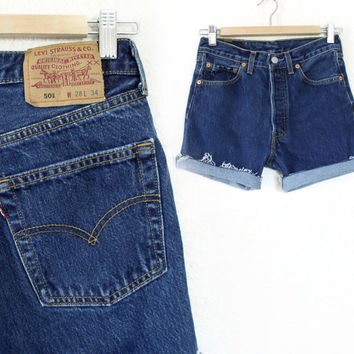 Vintage 90s Levi's 501 Button Fly Cutoff Denim Shorts - Midrise Faded Dark Rinse Denim Cutoff Boyfriend Jean Shorts - Size 28 Waist