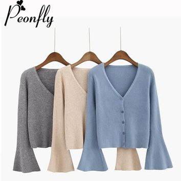 PEONFLY Spring 2018 V-Neck Long Sleeve Cardigan Women Flare Sleeve Knitting Jacket Female Loose Coat solid color casual sweaters