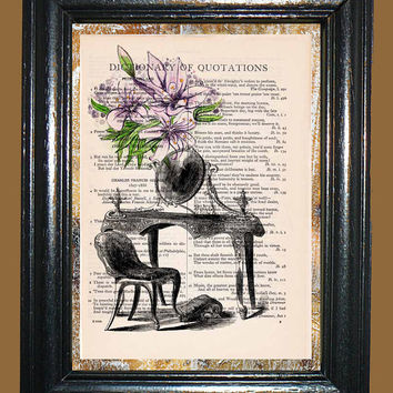 Antique Mirror on a Dresser with Purple Lilies Art - Vintage Dictionary Book Page Art Upcycled Page Art Mixed Media Art