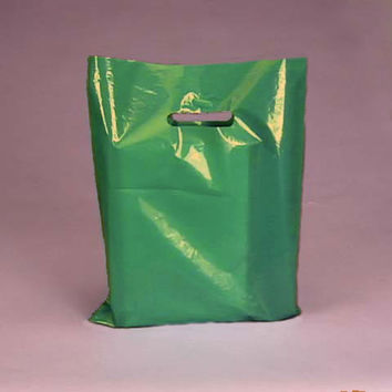 EMERALD GREEN 100pk Premium Glossy Plastic Merchandise Party Gift Favor bags