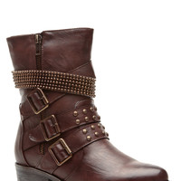 Cognac Faux Leather Strapped and Studded Biker Boots