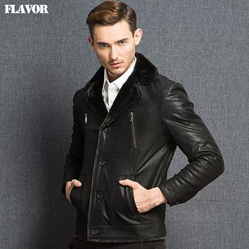 Men's real leather jacket double face fur Genuine Leather jacket men warm leather coat