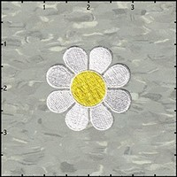 2 INCH Daisy Hippie Flower Embroidered Iron on Applique Patch FD - White with Yellow Center