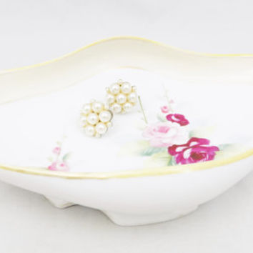"""Nippon China Oval Dish 7 1/2"""" Long, Floral Nippon Trinket Dish, Gold Trim with Roses"""