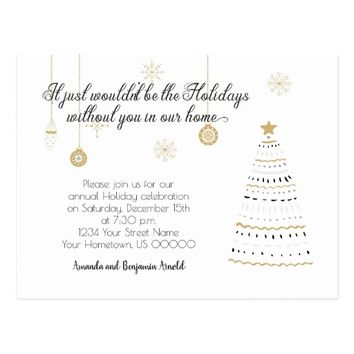 Black and Gold Stylized Holiday Party Invite | Postcard