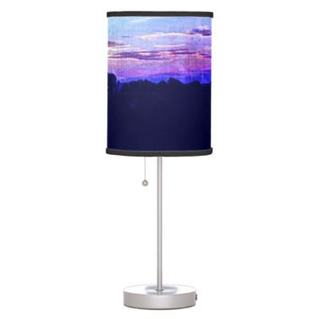 Blue Purple Summertime sunset in the country Desk Lamp
