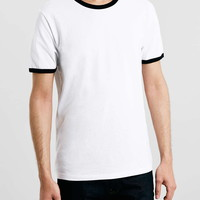 White Black Slim Ringer T-Shirt